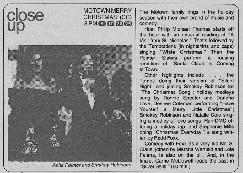 Motown Merry Christmas TV guide